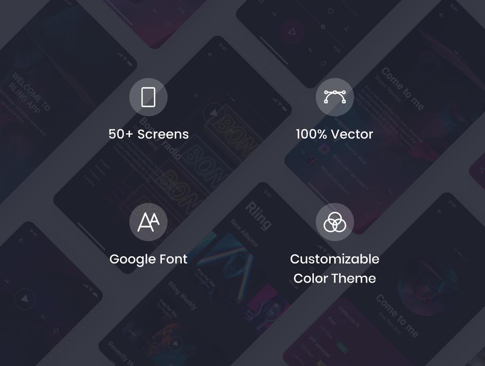 UI  50+音乐应用程序屏幕UI套件设计素描,Figma和XD,RLing - 惊人的音乐应用UI工具包