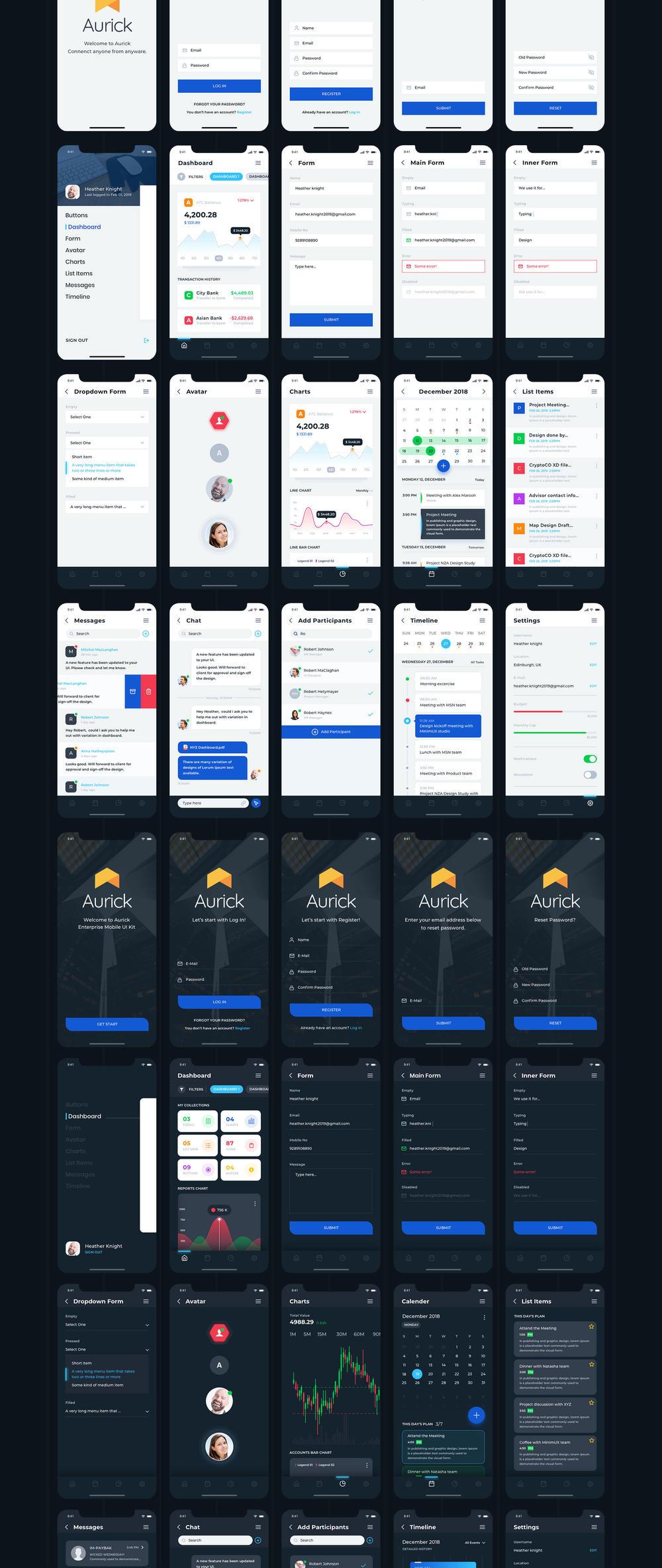 UI 99+ iOS应用程序的UI工具包的设计师和开发人员,Aurick - 企业移动UI套件
