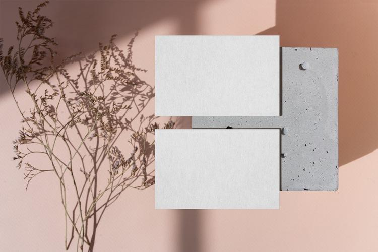 13款北欧简约创意树叶投影名片展示虚拟贴图PSD分层样机模板素材