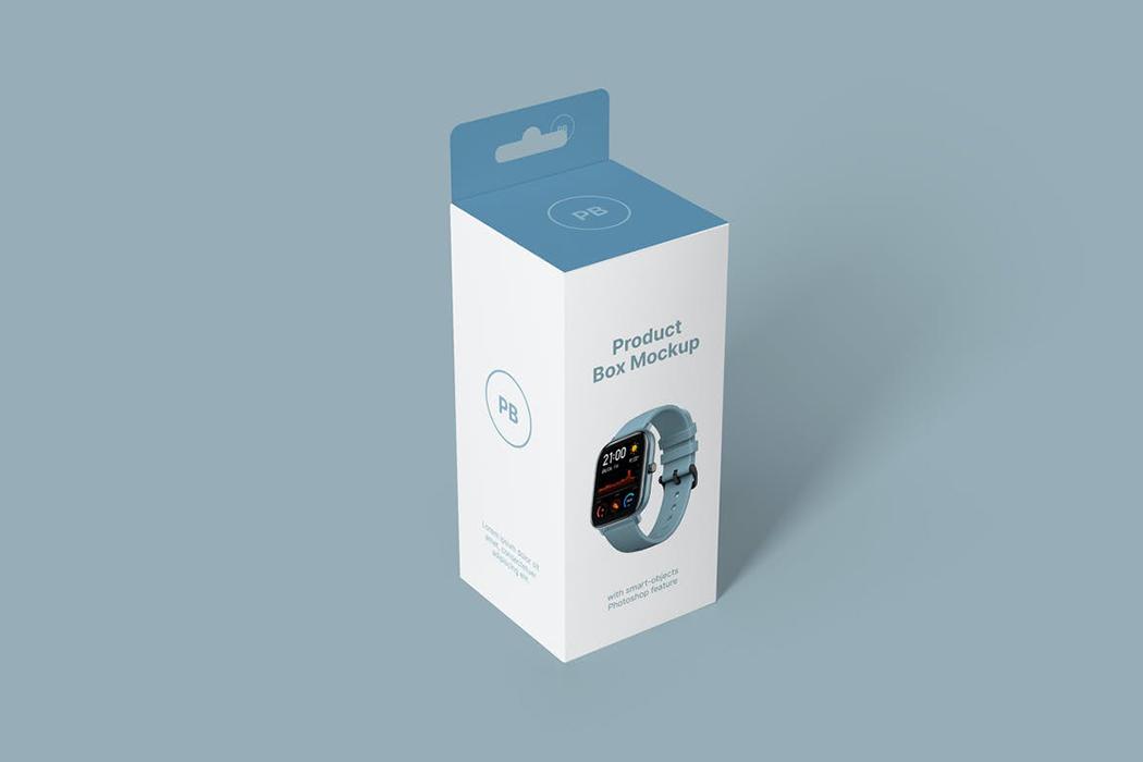 电子手表产品包装盒模型-product-box-mockups