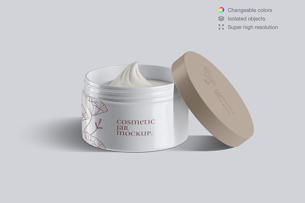 塑料化妆品面霜罐模型-Plastic cosmetic face cream jars mockup