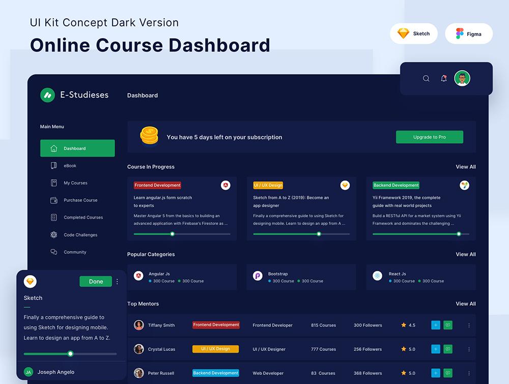 在线课程仪表盘套件黑暗版-Online Course Dashboard Kit Dark Version