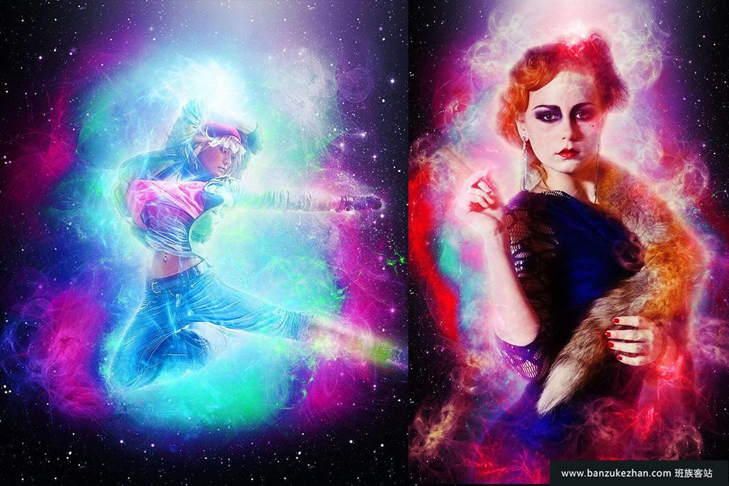 PS动作 – 星系火焰能量艺术效果-Galaxy Power Photoshop Action