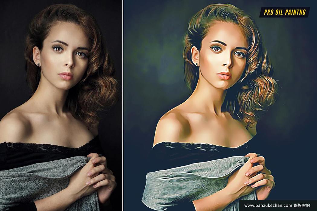 Ps动作-加强版专业照片转油画效果-Pro Oil Painting Photoshop Action+使用教程