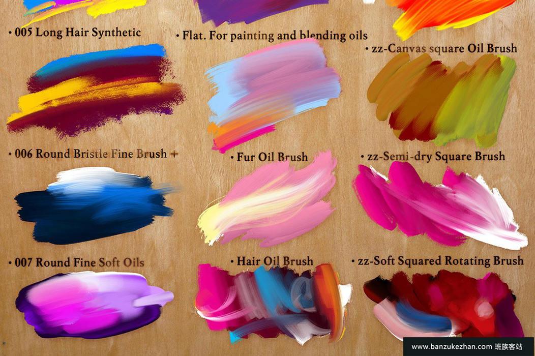 24个逼真油画丙烯酸涂料笔刷-The Perfect Oils. 24 Mixer Brushes