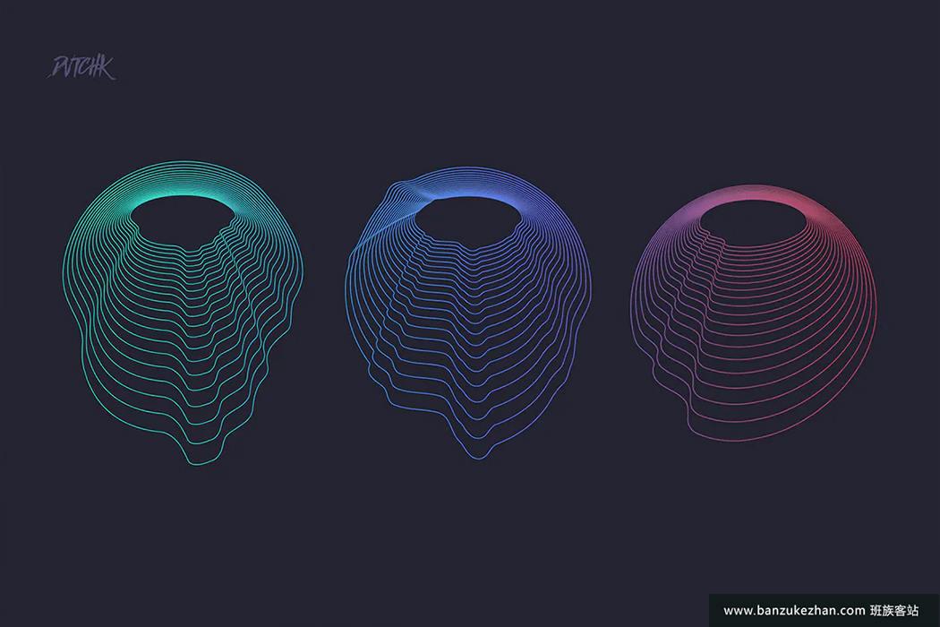 25个独特抽象圆圈Ps+AI笔刷-circular-photoshop-brushes