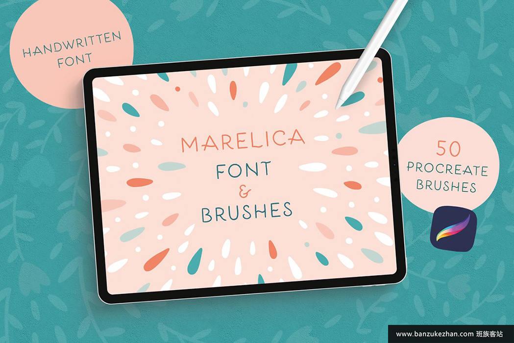 300个Procreate主题笔刷和字体包-Procreate_Brushes___Font_Bundle