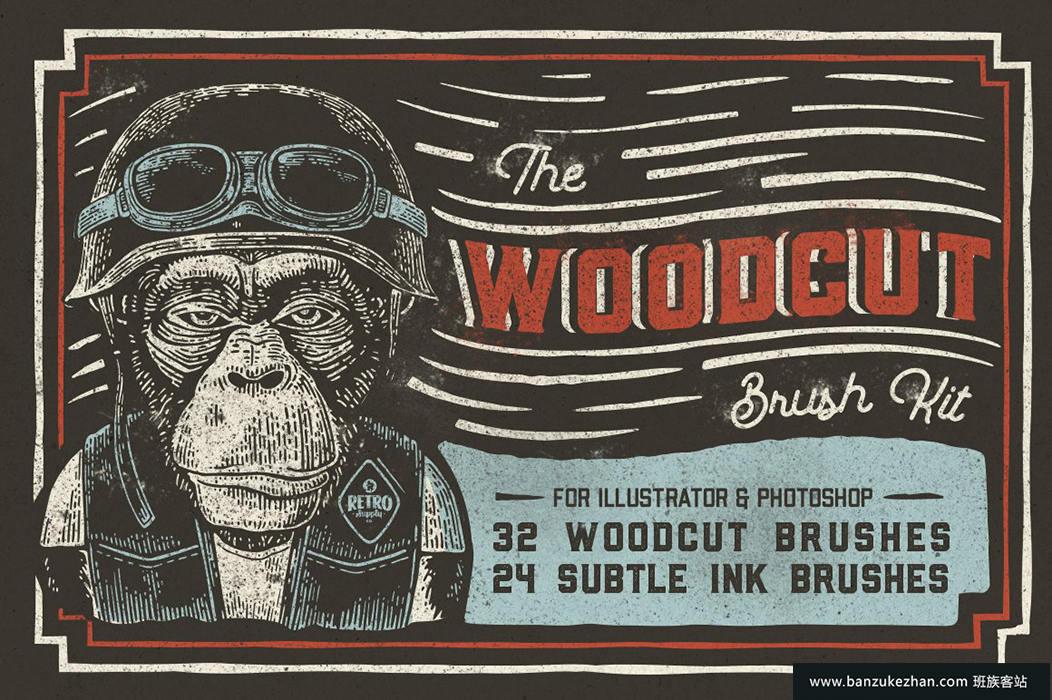木刻画笔套件  插画家笔刷-The_Woodcut_Brush_Kit-GraphicEx.com