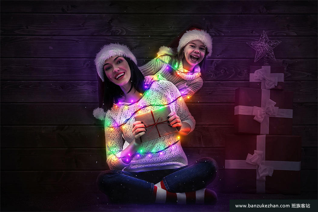 PS动作- 逼真圣诞节日灯带效果-Christmas Lights Photoshop Action+使用教程