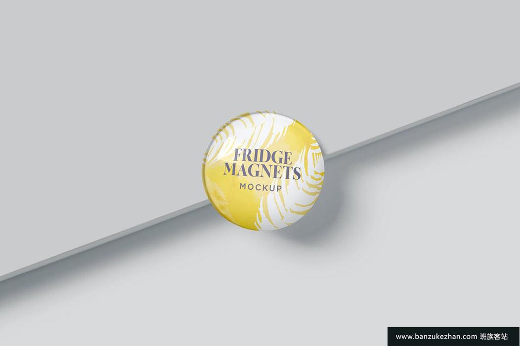 圆形冰箱磁铁样机-round-fridge-magnets-mockups