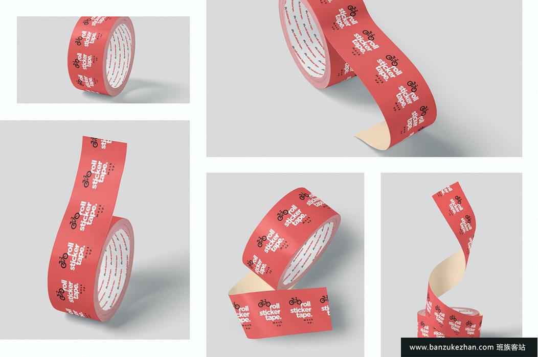 胶带卷样机-sticker-tape-roll-mockups
