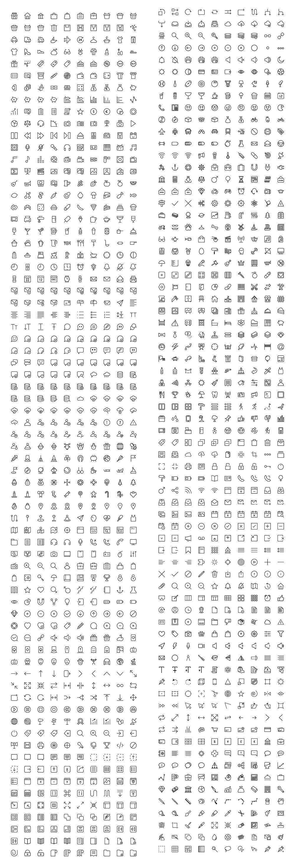 1430个图标合集-1430 line icons bundle v2