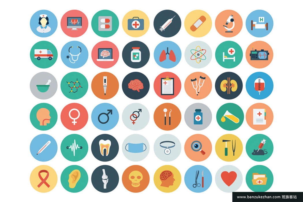 20个不同的类别2100+平面矢量图标-2100+ CS Flat Icons