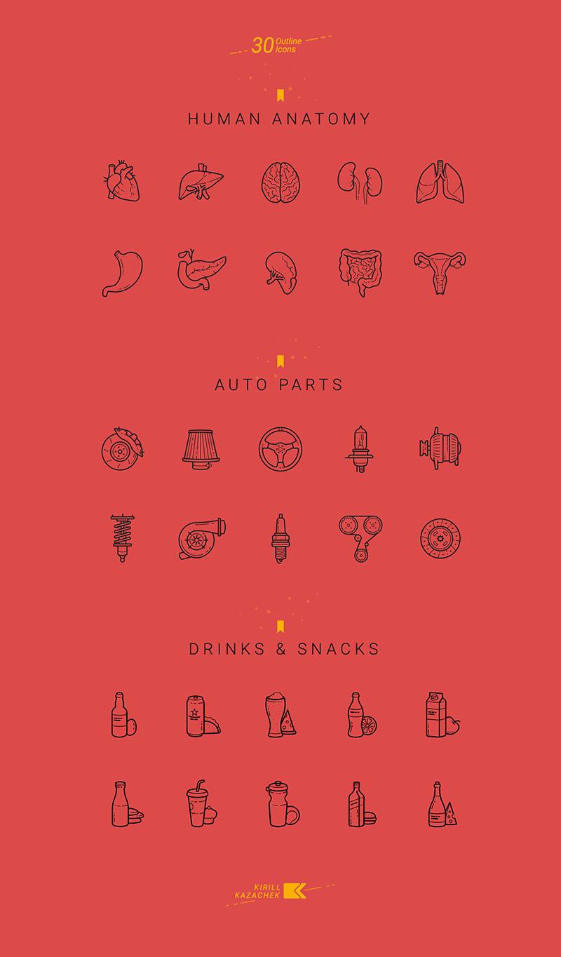 30个特定人体解剖轮廓图标-30 Specific Icons-班族客站